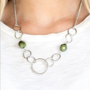 Paparazzi Lead Role-Green Necklace/Earrings